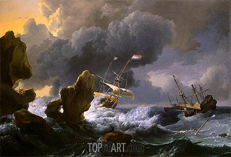 Ships in Distress off a Rocky Coast, 1667 | Bakhuysen | Painting Reproduction