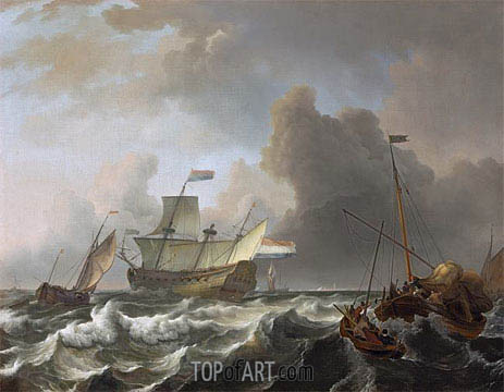Ships in a Storm off Enkhuizen, c.1690 | Bakhuysen | Painting Reproduction