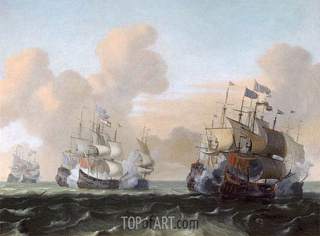 Battle at Sea between Hollanders and Pirates, c.1675 | Bakhuysen | Painting Reproduction