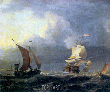 Ships in a Storm, c.1660 | Bakhuysen | Painting Reproduction
