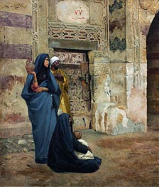Family at the Door | Ludwig Deutsch | Painting Reproduction