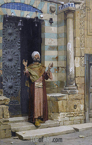At the Door of the Mosque, 1886 | Ludwig Deutsch| Painting Reproduction
