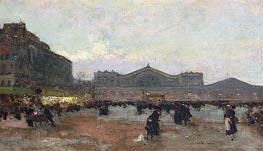 The Gare de l'Est, undated by Luigi Loir | Painting Reproduction