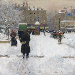 The Square du Temple, Paris in Winter, c.1970 by Luigi Loir | Painting Reproduction