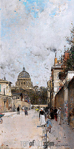 La rue du Val de Grace, undated | Luigi Loir| Painting Reproduction
