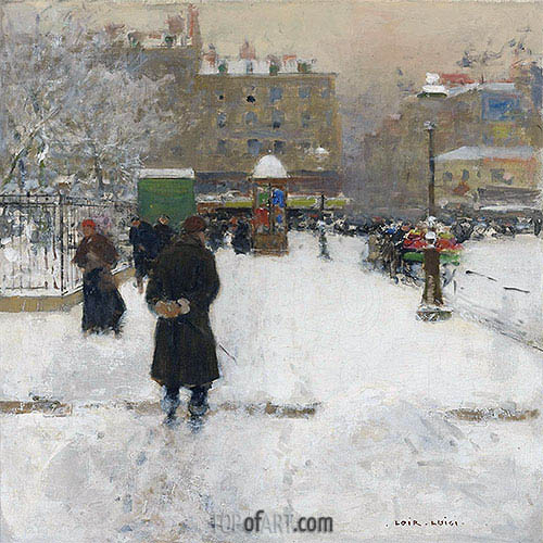 The Square du Temple, Paris in Winter, c.1970 | Luigi Loir| Painting Reproduction