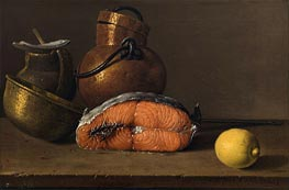 Still Life with Salmon, Lemon and Three Vessels, 1772 by Luis Egidio Meléndez | Painting Reproduction
