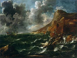 Ships in a Gale, c.1705/08 by Marco Ricci | Painting Reproduction