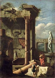 Ancient Building with a Statue and Decorative Figures, c.1720/25 by Marco Ricci | Painting Reproduction