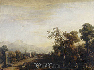 Landscape with Carriage and Travelers, undated | Marco Ricci | Painting Reproduction
