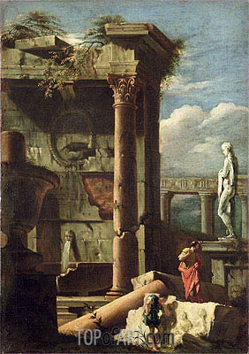 Ancient Building with a Statue and Decorative Figures, c.1720/25 | Marco Ricci | Painting Reproduction