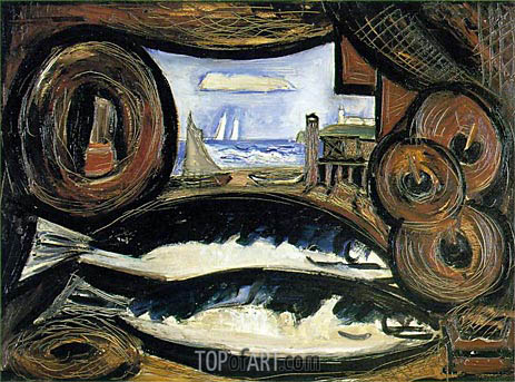 New England Sea View - Fish House, 1934 | Marsden Hartley | Painting Reproduction