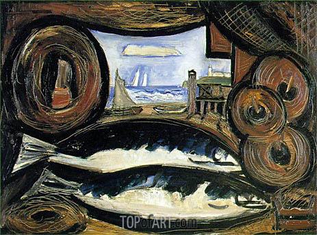 Marsden Hartley | New England Sea View - Fish House, 1934