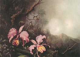 Two Orchids in a Mountain Landscape, c.1870 by Martin Johnson Heade | Painting Reproduction
