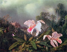 Jungle Orchids and Hummingbirds, 1872 by Martin Johnson Heade | Painting Reproduction