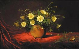 Yellow Daisies in a Bowl, c.1883/95 by Martin Johnson Heade | Painting Reproduction