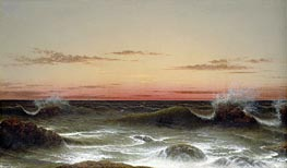 Seascape: Sunset, 1861 by Martin Johnson Heade | Painting Reproduction
