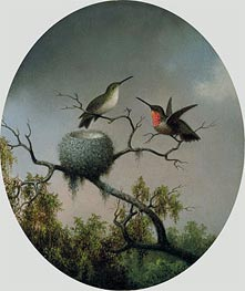 Hummingbirds with Nest, 1863 by Martin Johnson Heade | Painting Reproduction