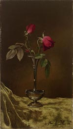 Three Red Roses in a Metal Vase on Gold Velvet, c.1883/00 by Martin Johnson Heade | Painting Reproduction