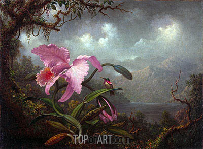 Orchid and Hummingbird, c.1885 | Martin Johnson Heade | Painting Reproduction