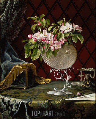 Still Life with Apple Blossoms in a Nautilus Shell, 1870 | Martin Johnson Heade| Gemälde Reproduktion