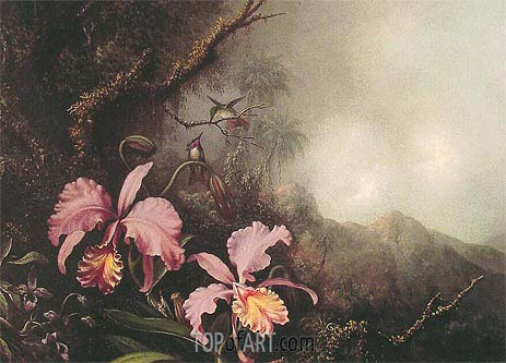 Two Orchids in a Mountain Landscape, c.1870 | Martin Johnson Heade | Gemälde Reproduktion
