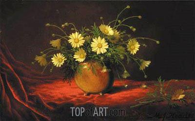 Yellow Daisies in a Bowl, c.1883/95 | Martin Johnson Heade | Painting Reproduction