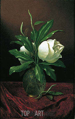 Two Magnolia Blossoms in a Glass Vase, c.1890 | Martin Johnson Heade | Painting Reproduction