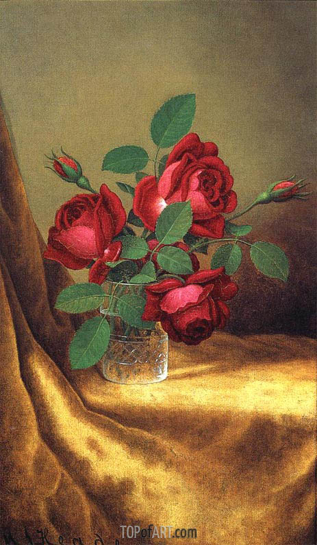 Red Roses in a Crystal Goblet, c.1883/00 | Martin Johnson Heade | Painting Reproduction