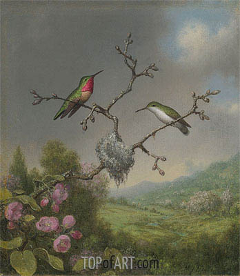 Hummingbirds and Apple Blossoms, c.1865 | Martin Johnson Heade | Painting Reproduction