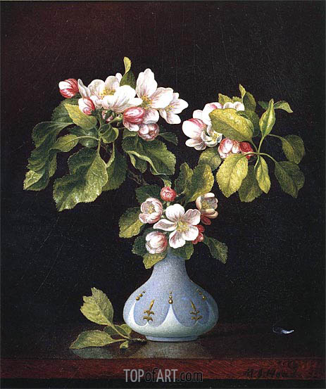 Apple Blossoms in a Vase, 1867 | Martin Johnson Heade | Painting Reproduction
