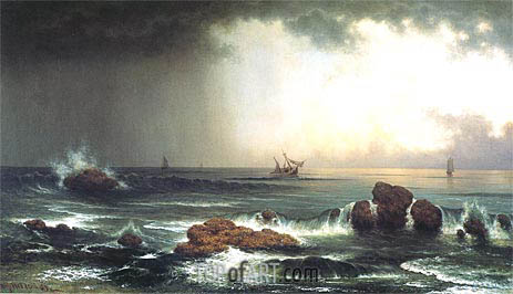 Martin Johnson Heade | Hazy Sunrise at Sea, 1863