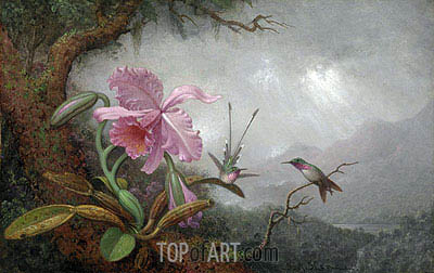 Hummingbirds and Orchids, 1880s | Martin Johnson Heade| Painting Reproduction