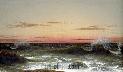Seascape: Sunset, 1861 | Martin Johnson Heade | Painting Reproduction