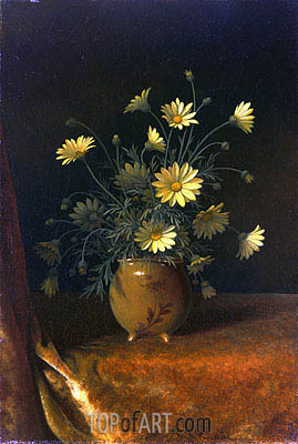 Yellow Daisies in a Brown Bowl, c.1890 | Martin Johnson Heade | Painting Reproduction