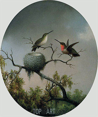 Hummingbirds with Nest, 1863 | Martin Johnson Heade | Gemälde Reproduktion