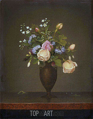 Still Life with Flowers (Wildflowers in a Brown Vase), c.1860/65 | Martin Johnson Heade| Painting Reproduction