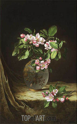 Apple Blossoms in an Opalescent Vase, c.1883/85 | Martin Johnson Heade | Painting Reproduction