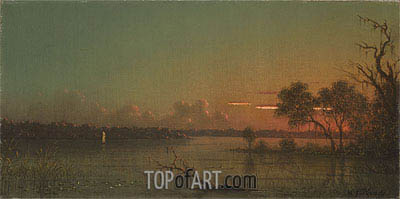 St. Johns River, Sunset with Alligator, c.1887 | Martin Johnson Heade | Gemälde Reproduktion