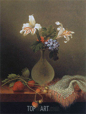A Vase of Corn Lilies and Heliotrope,  | Martin Johnson Heade | Painting Reproduction