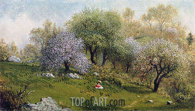 Girl on a Hillside, Apple Blossoms, 1874 | Martin Johnson Heade| Painting Reproduction