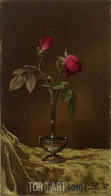 Martin Johnson Heade | Three Red Roses in a Metal Vase on Gold Velvet, c.1883/00