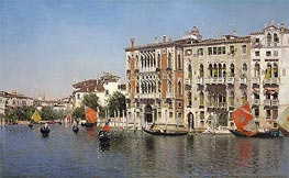 A View of Palazzo Cavalli and Palazzo Barbaro on the Grand Canal, undated by Martin Rico y Ortega | Painting Reproduction