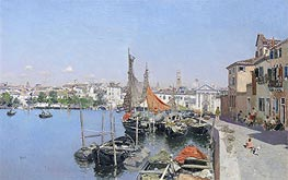 A Venetian Waterfront, undated by Martin Rico y Ortega | Painting Reproduction