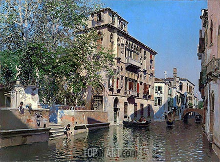 A Canal in Venice, c.1875 | Martin Rico y Ortega| Painting Reproduction
