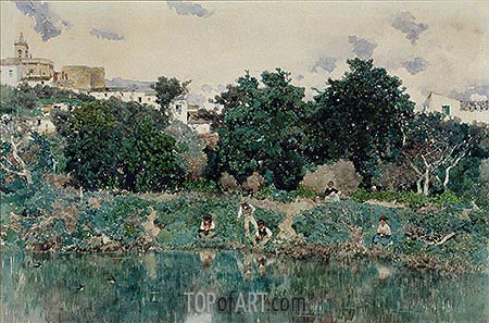 Martin Rico y Ortega | Alcalá: The Banks of the Guadaíra River, 1871