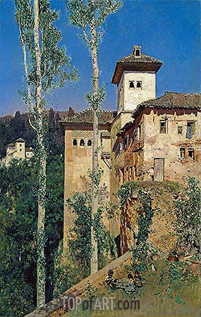 The Ladies' Tower at the Alhambra, 1871 | Martin Rico y Ortega| Painting Reproduction