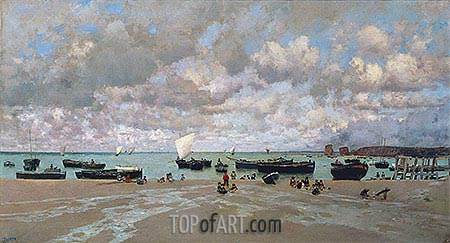 The Mouth of the Bidasoa River, 1872 | Martin Rico y Ortega| Painting Reproduction