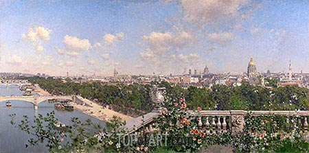 View of Paris, 1883 | Martin Rico y Ortega | Painting Reproduction