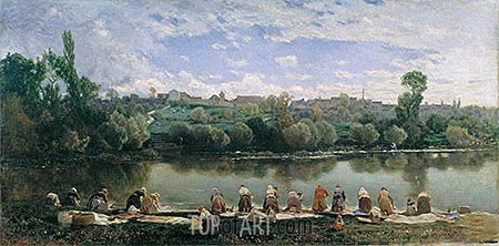 Washerwomen at the Varenne River, undated | Martin Rico y Ortega| Painting Reproduction